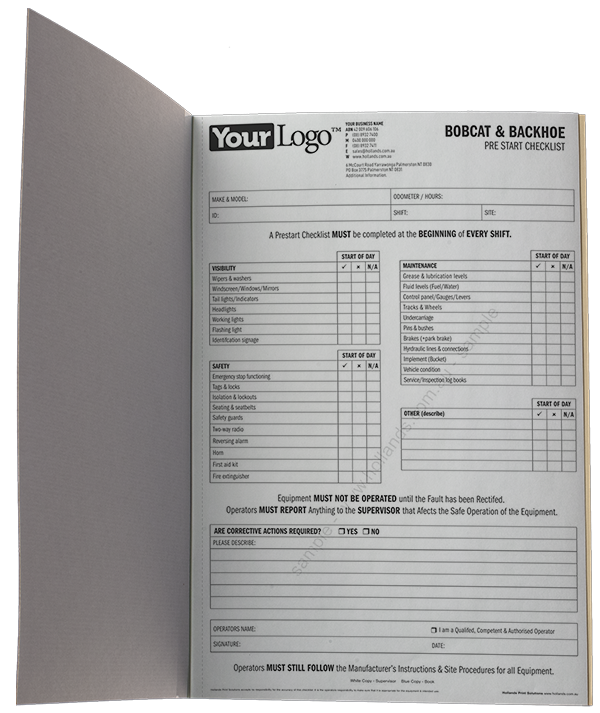 Bobcat and Back Hoe Pre Start Checklist Book